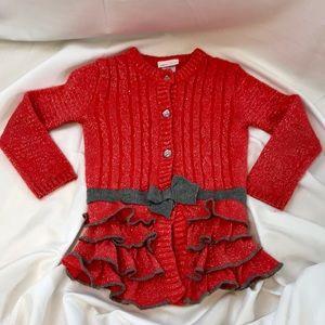 Little Lass Melon Orange Sparkly Cardigan Sweater